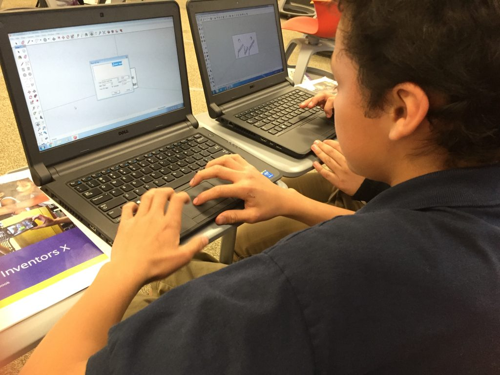 This student at Kepner Beacon Middle Schoo works on a project together with a partner student in another country in his Global Inventors course. More about this school's global STEAM experience here.