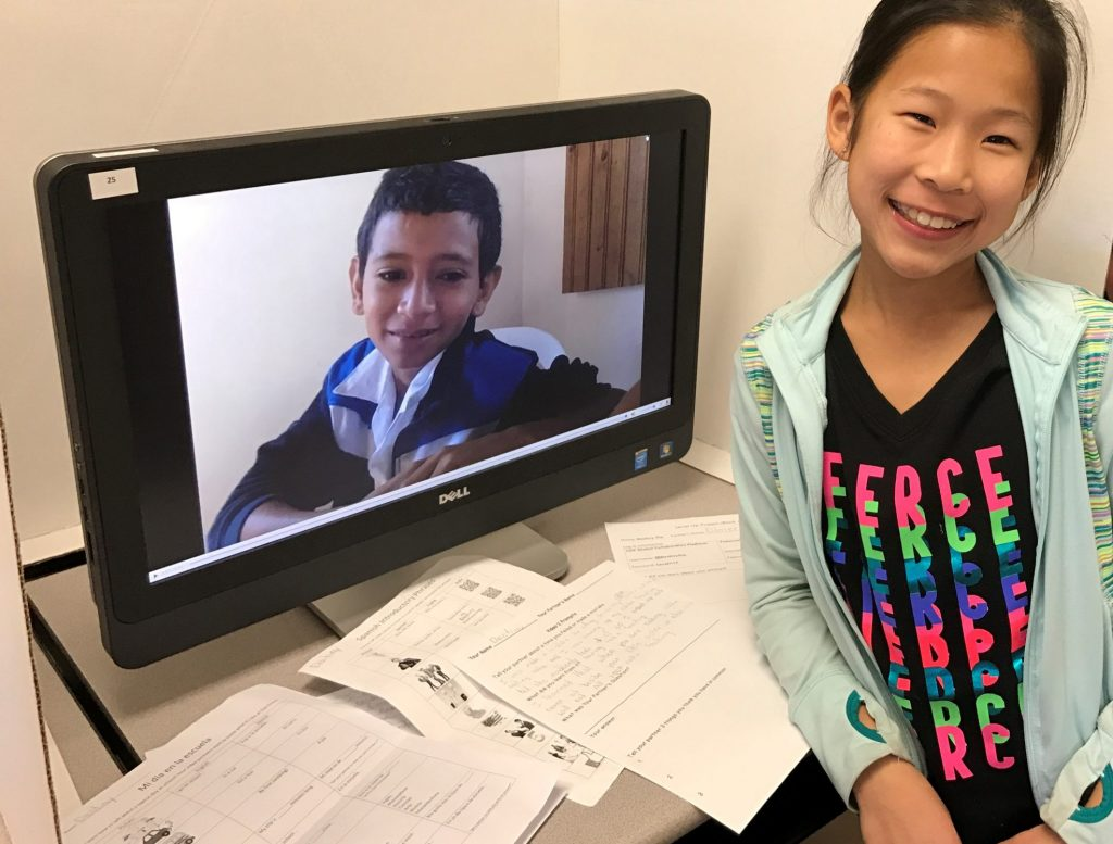 This student at Oak Grove Elementary in Roanoke, VA, exchanged videos in Spanish with her partner in Honduras during her Level Up Village Global Inventors course.